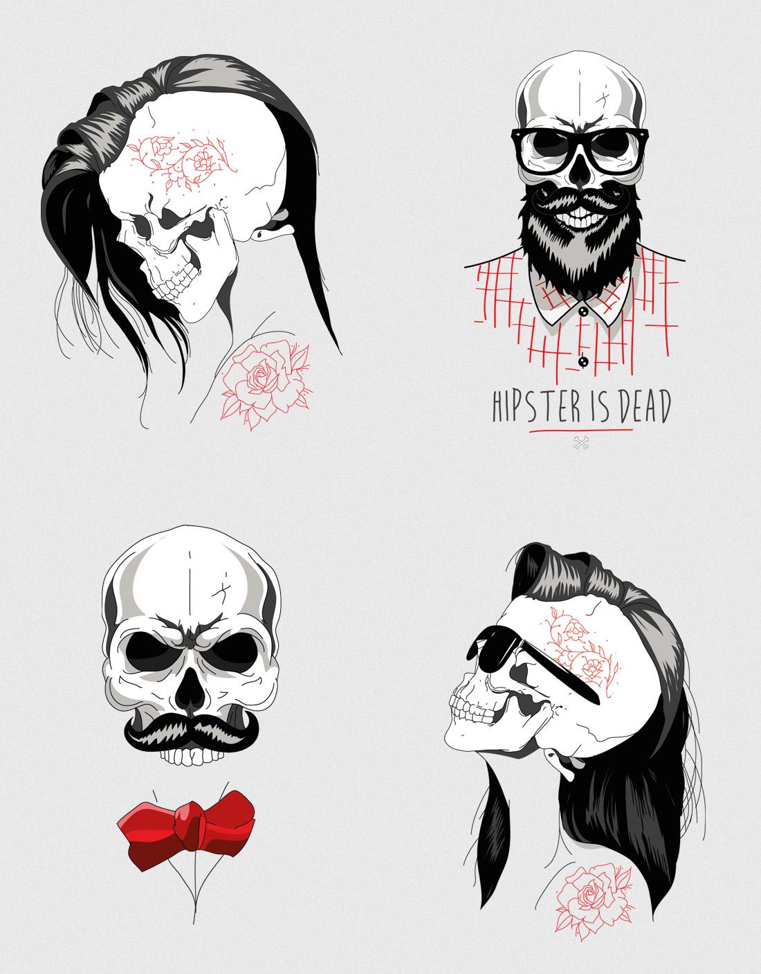 Diseño camiseta personalizada Skull hipster