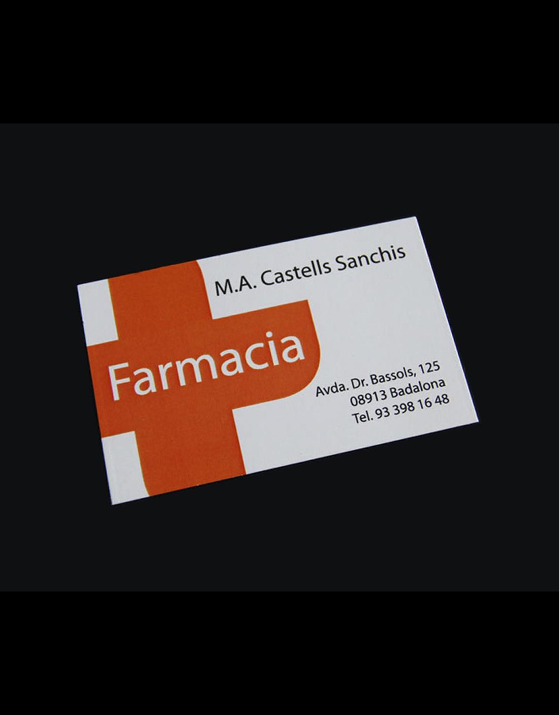 Tarjeta farmacia M.A. Castells Sanchis